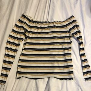 Off the shoulder, striped long sleeve shirt.